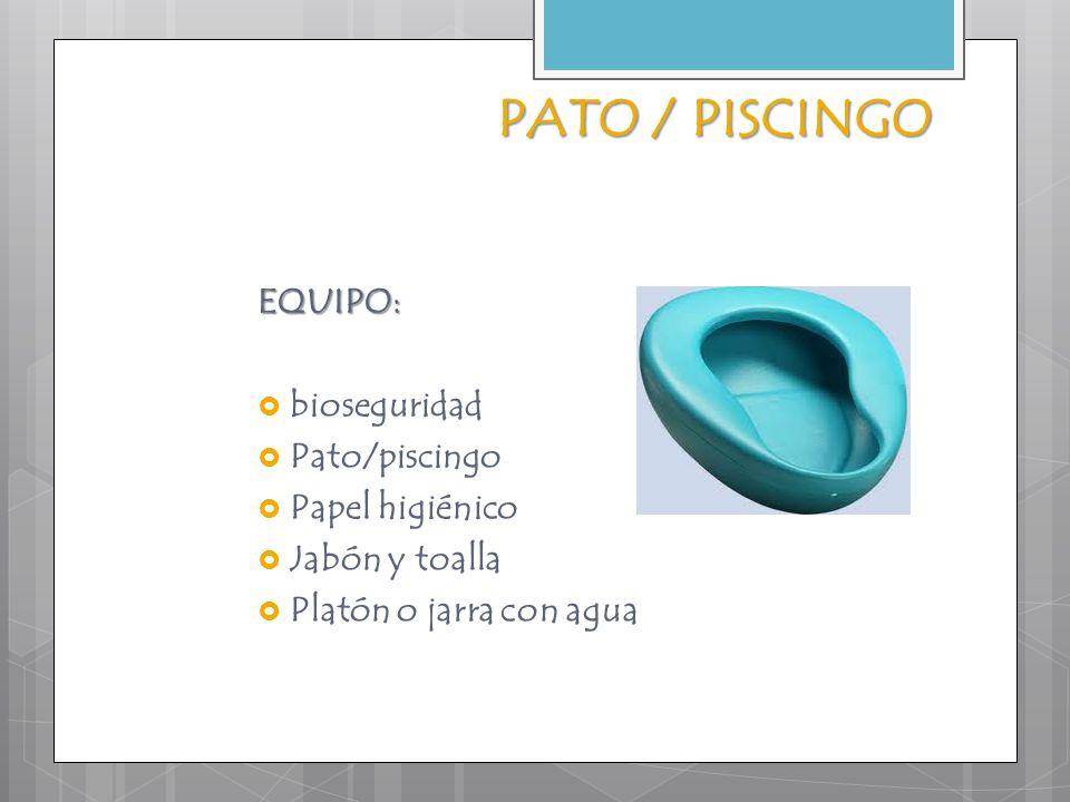PATO / PISCINGO EQUIPO: bioseguridad Pato/piscingo Papel higiénico