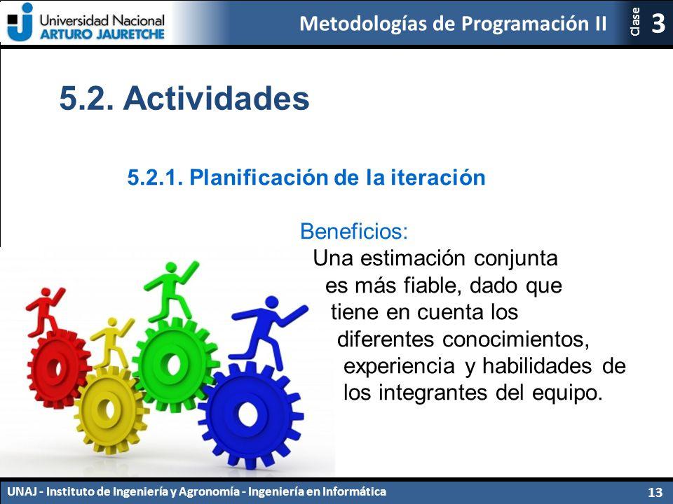 5.2. Actividades 5.2.1. Planificación de la iteración Beneficios:
