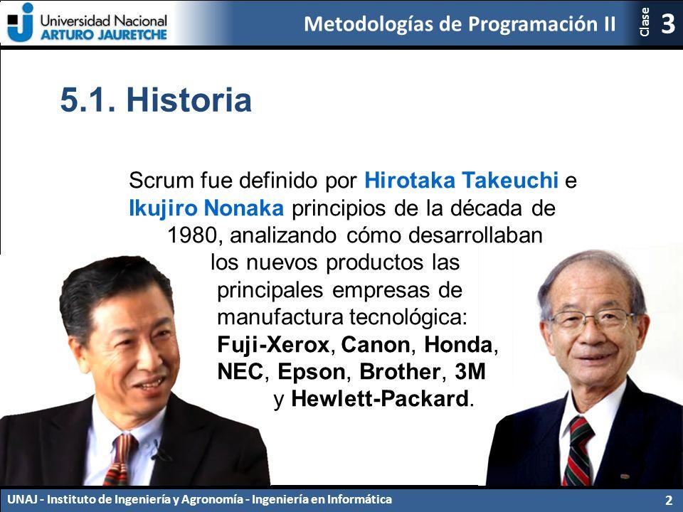 5.1. Historia Scrum fue definido por Hirotaka Takeuchi e Ikujiro Nonaka principios de la década de.