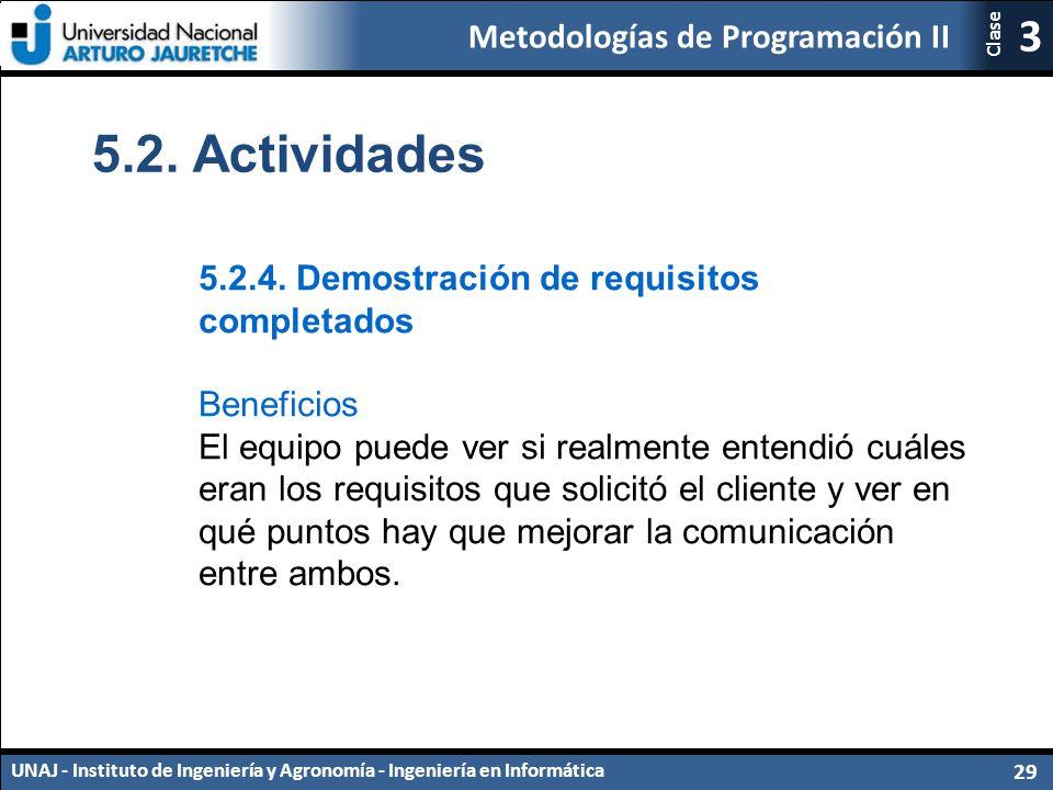 5.2. Actividades 5.2.4. Demostración de requisitos completados
