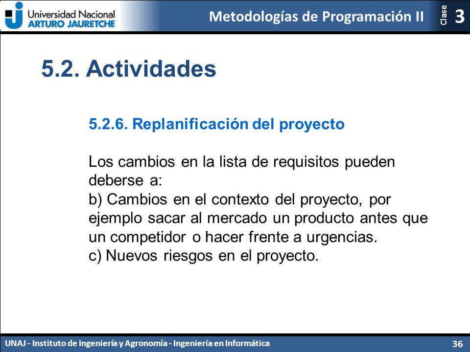 5.2. Actividades 5.2.6. Replanificación del proyecto