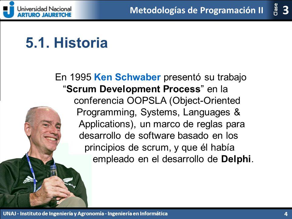 5.1. Historia En 1995 Ken Schwaber presentó su trabajo