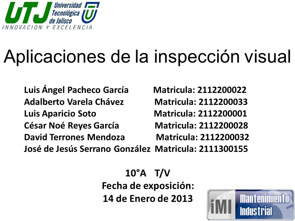 Aplicaciones de la inspección visual
