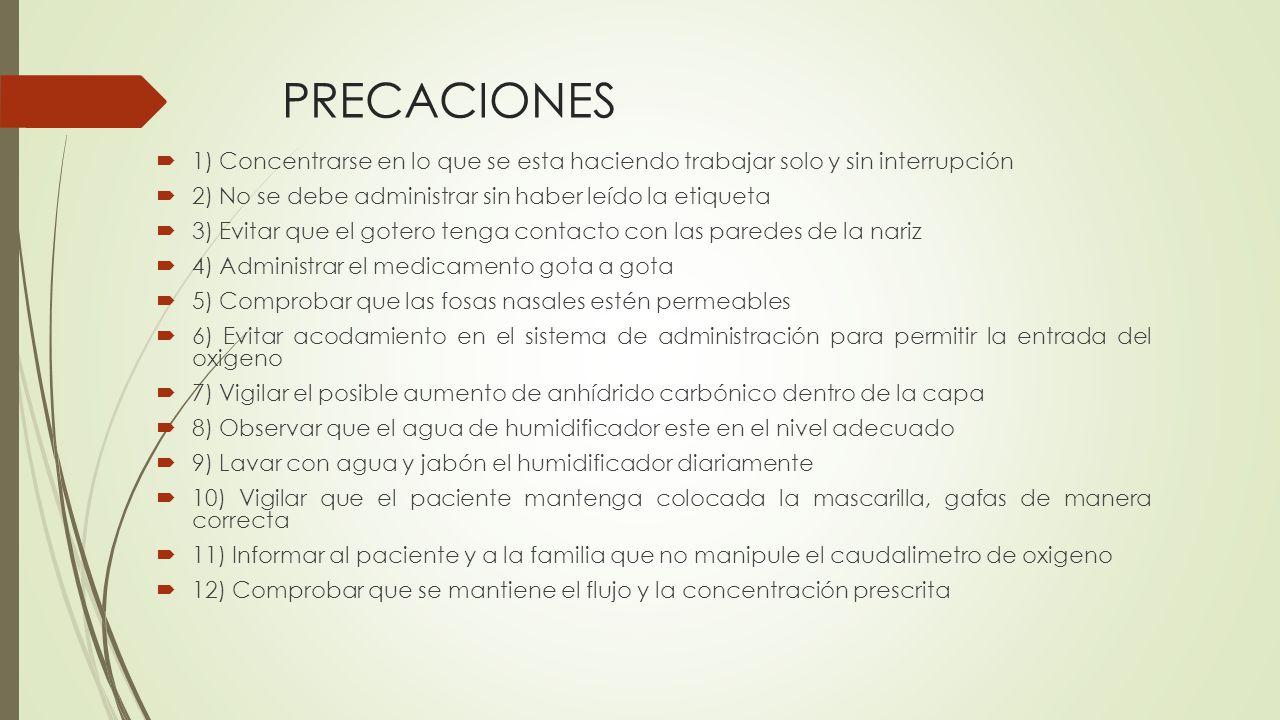 PRECACIONES 1) Concentrarse en lo que se esta haciendo trabajar solo y sin interrupción. 2) No se debe administrar sin haber leído la etiqueta.