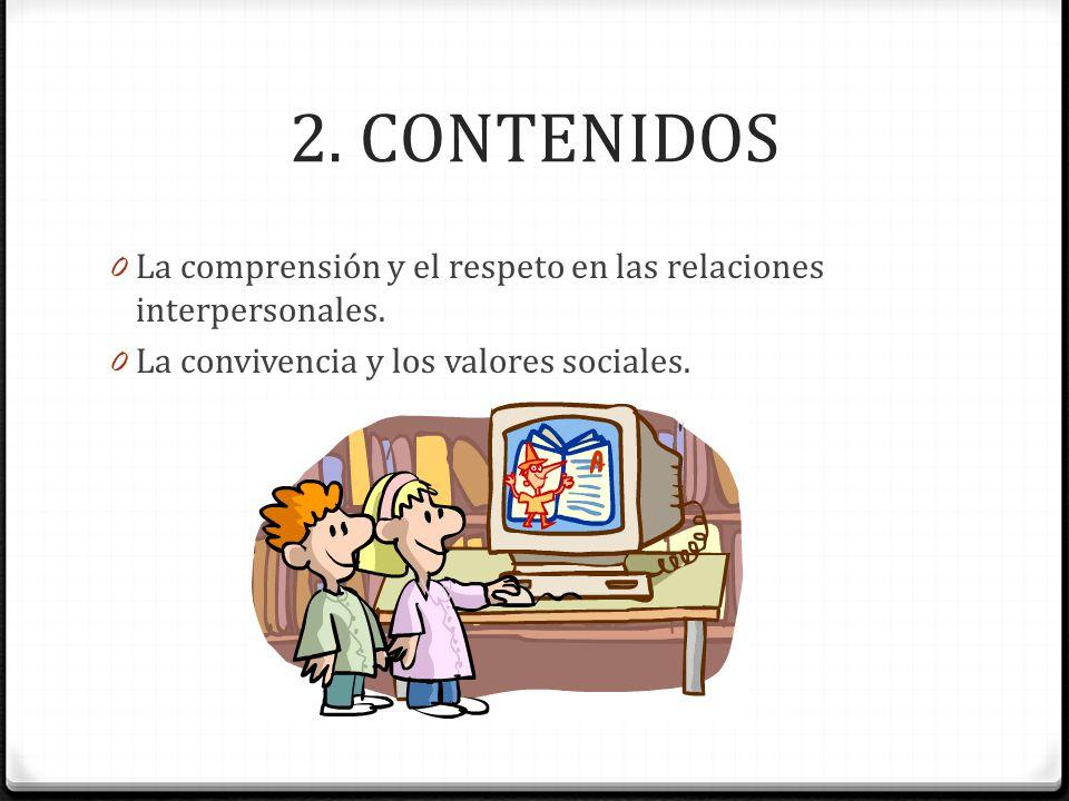 2. CONTENIDOS La comprensión y el respeto en las relaciones interpersonales.