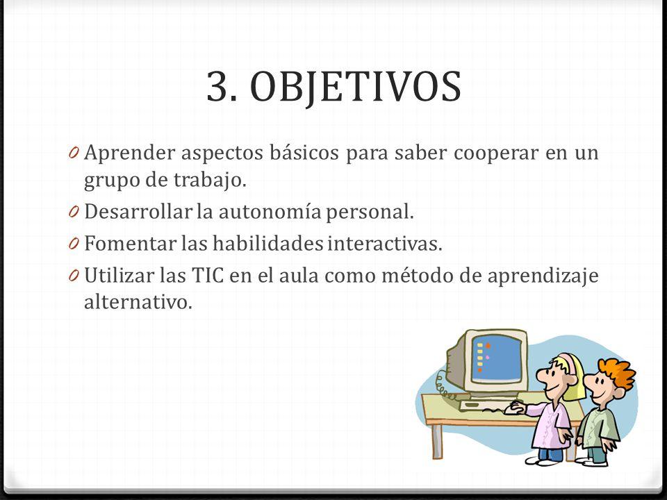3. OBJETIVOS Aprender aspectos básicos para saber cooperar en un grupo de trabajo. Desarrollar la autonomía personal.