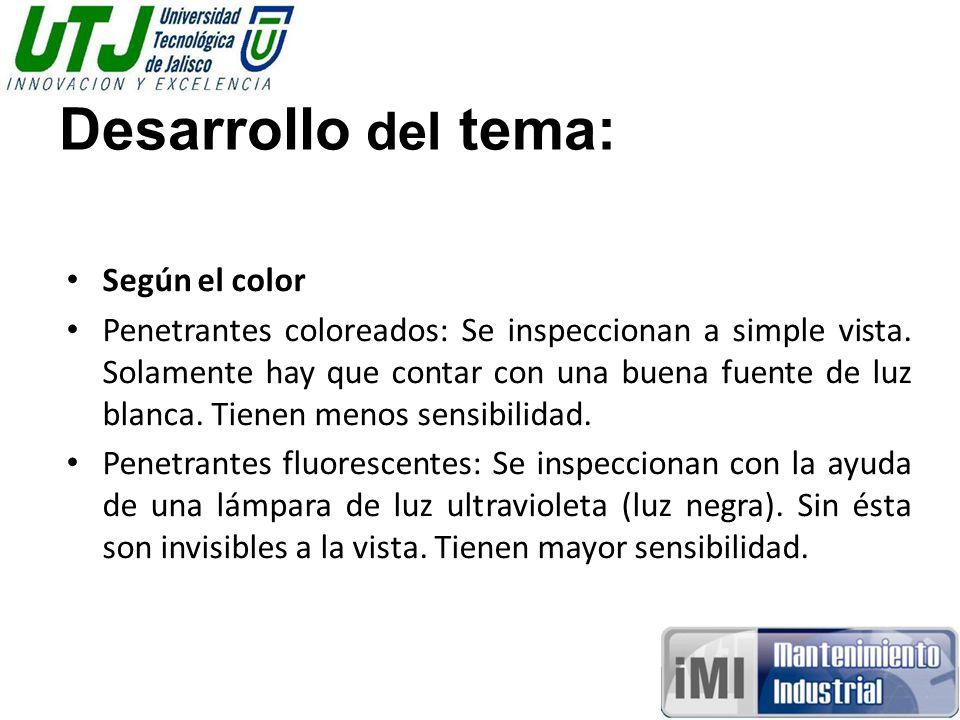Desarrollo del tema: Según el color