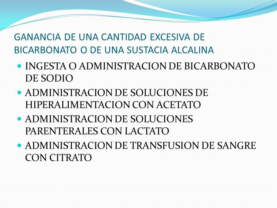GANANCIA DE UNA CANTIDAD EXCESIVA DE BICARBONATO O DE UNA SUSTACIA ALCALINA