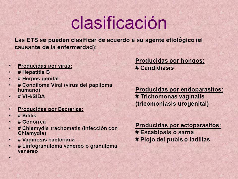 clasificación Las ETS se pueden clasificar de acuerdo a su agente etiológico (el causante de la enfermerdad):