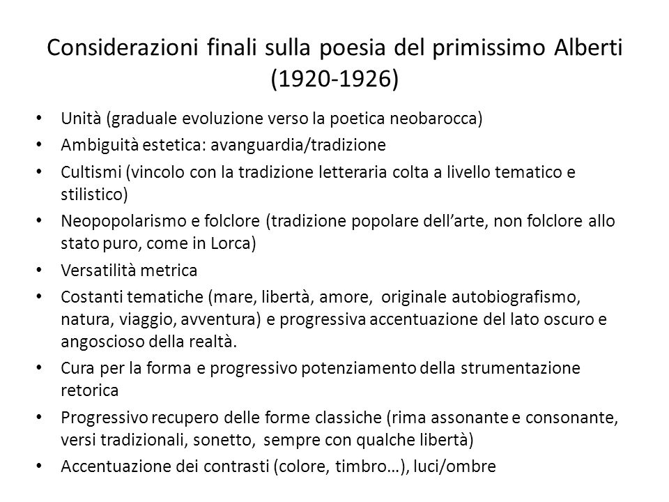 Considerazioni finali sulla poesia del primissimo Alberti (1920-1926)