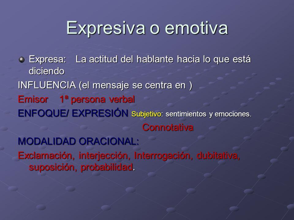 Expresiva o emotiva Expresa: La actitud del hablante hacia lo que está diciendo. INFLUENCIA (el mensaje se centra en )