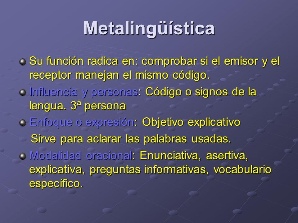 Metalingüística Su función radica en: comprobar si el emisor y el receptor manejan el mismo código.