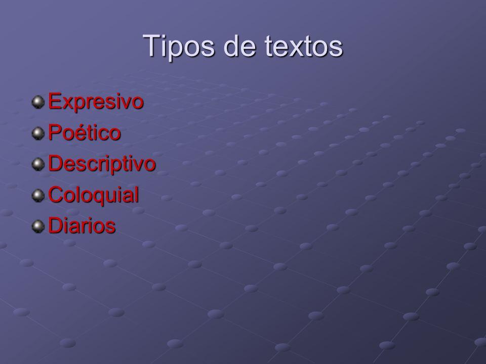 Tipos de textos Expresivo Poético Descriptivo Coloquial Diarios
