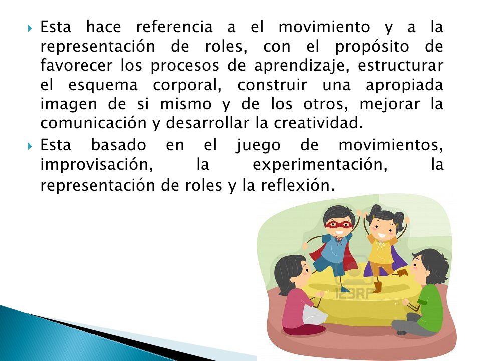 Esta hace referencia a el movimiento y a la representación de roles, con el propósito de favorecer los procesos de aprendizaje, estructurar el esquema corporal, construir una apropiada imagen de si mismo y de los otros, mejorar la comunicación y desarrollar la creatividad.
