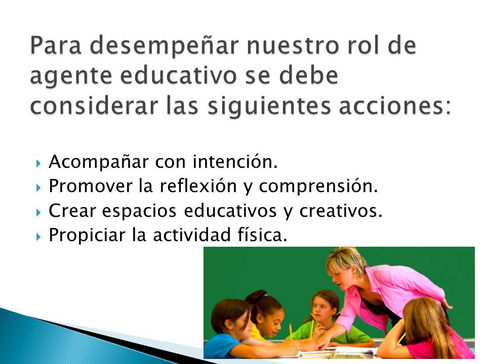 Para desempeñar nuestro rol de agente educativo se debe considerar las siguientes acciones: