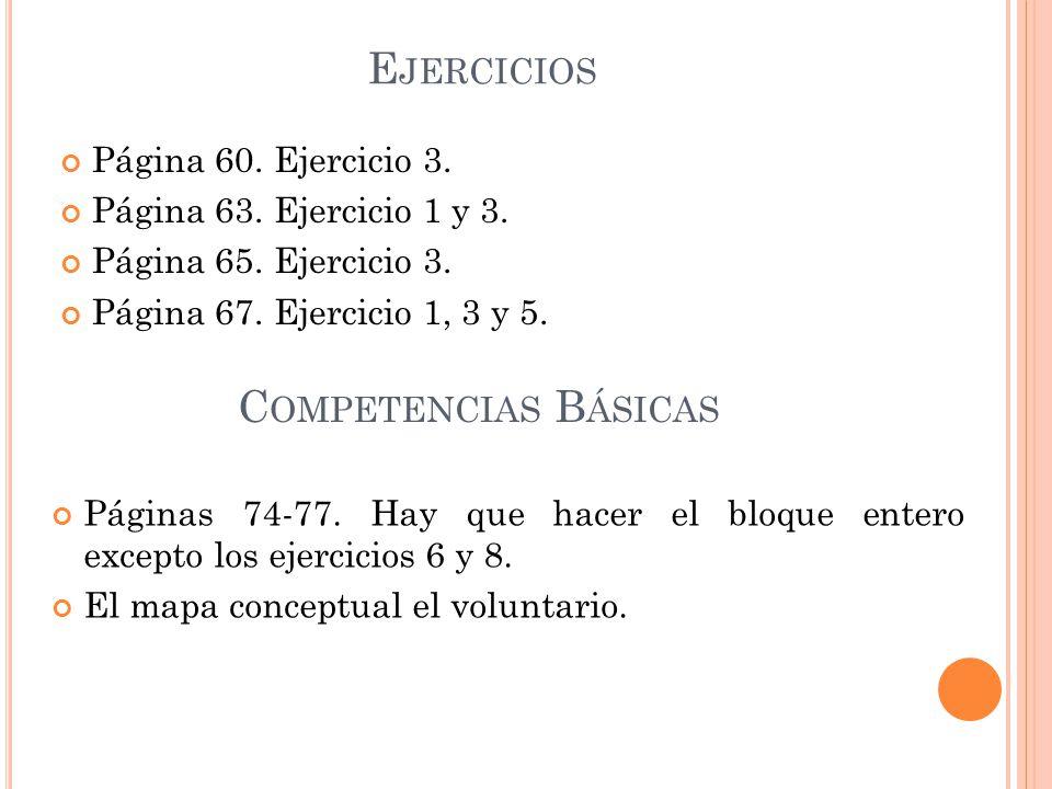 Ejercicios Competencias Básicas Página 60. Ejercicio 3.
