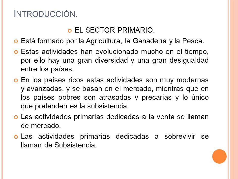 Introducción. EL SECTOR PRIMARIO.