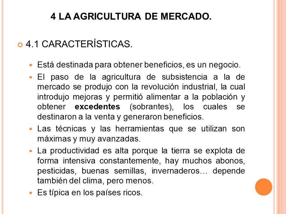 4 LA AGRICULTURA DE MERCADO.