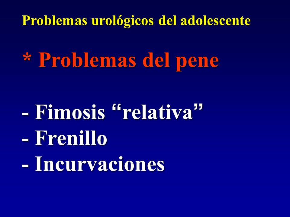 * Problemas del pene - Fimosis relativa - Frenillo - Incurvaciones