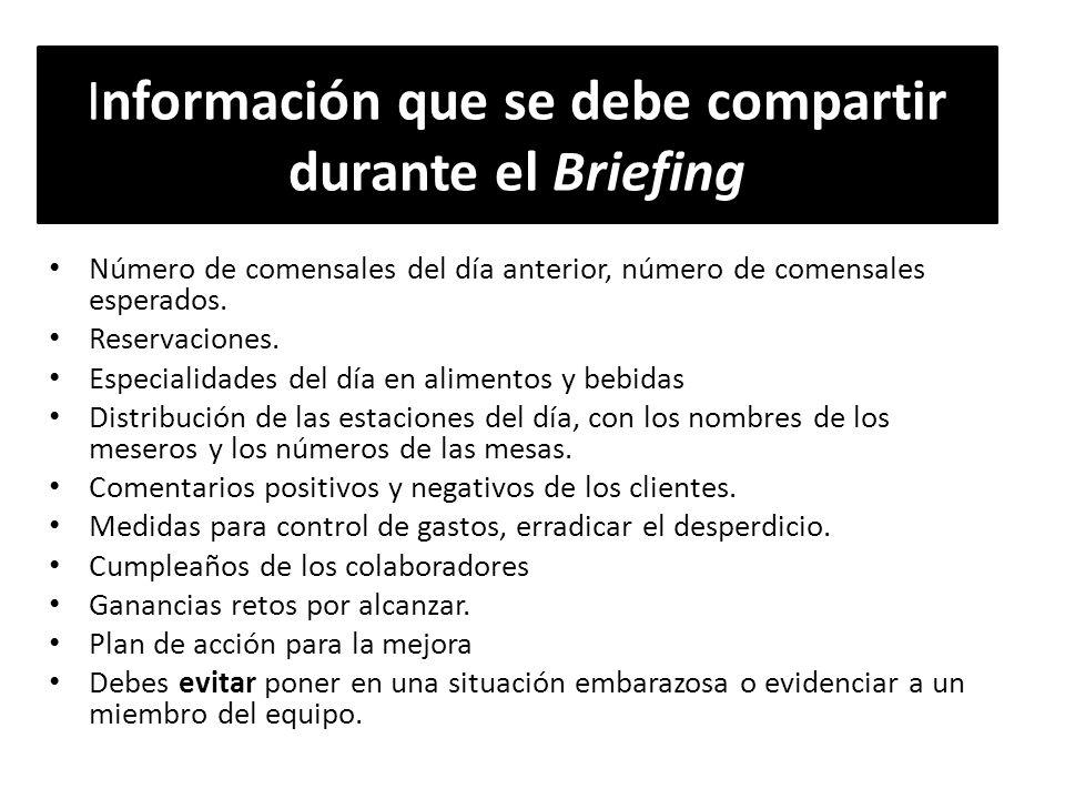 Información que se debe compartir durante el Briefing