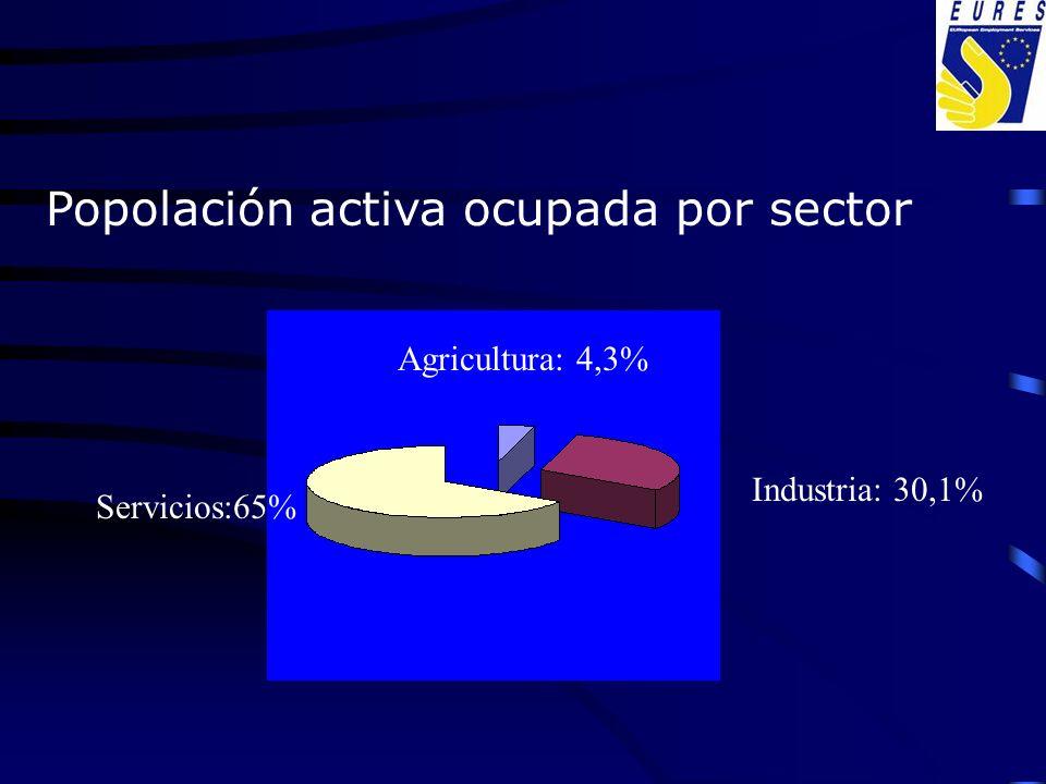 Popolación activa ocupada por sector