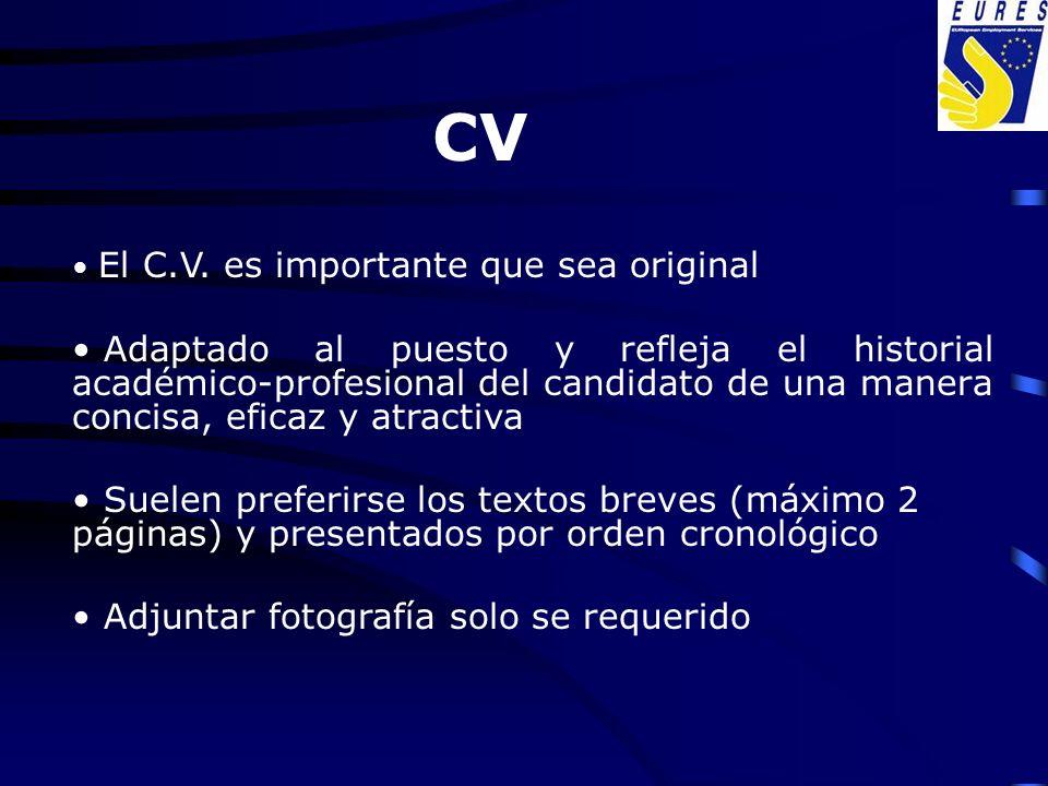 CV El C.V. es importante que sea original.