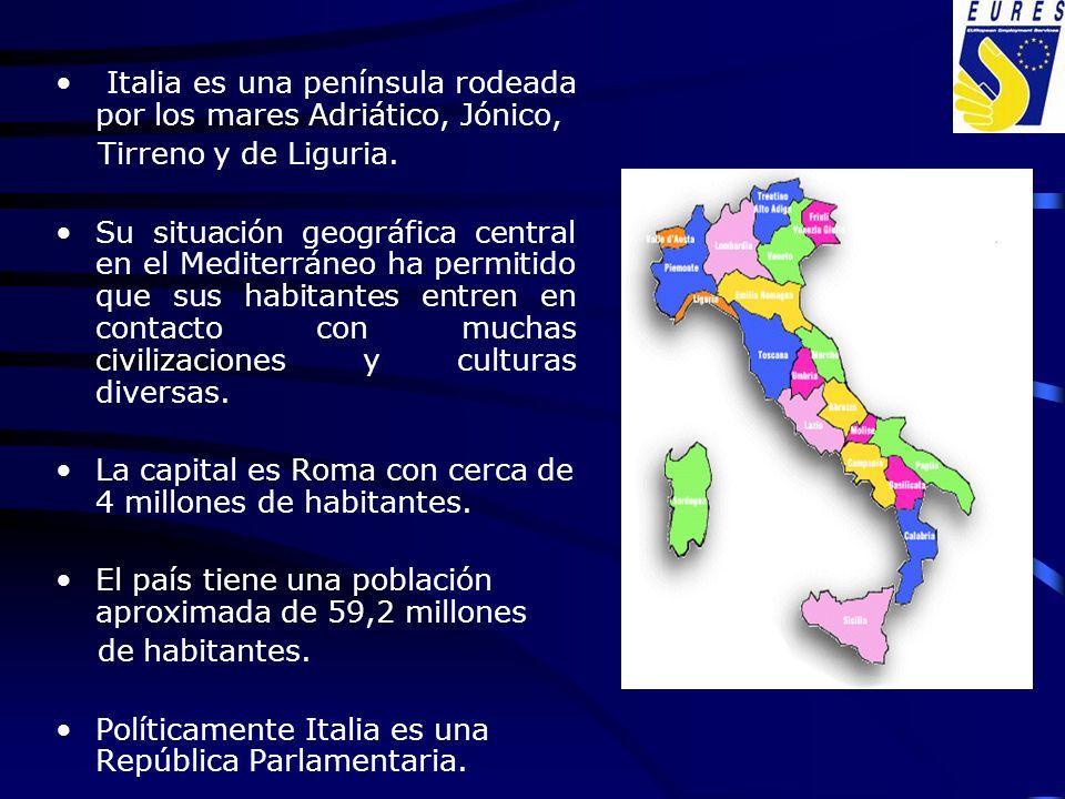 Italia es una península rodeada por los mares Adriático, Jónico,