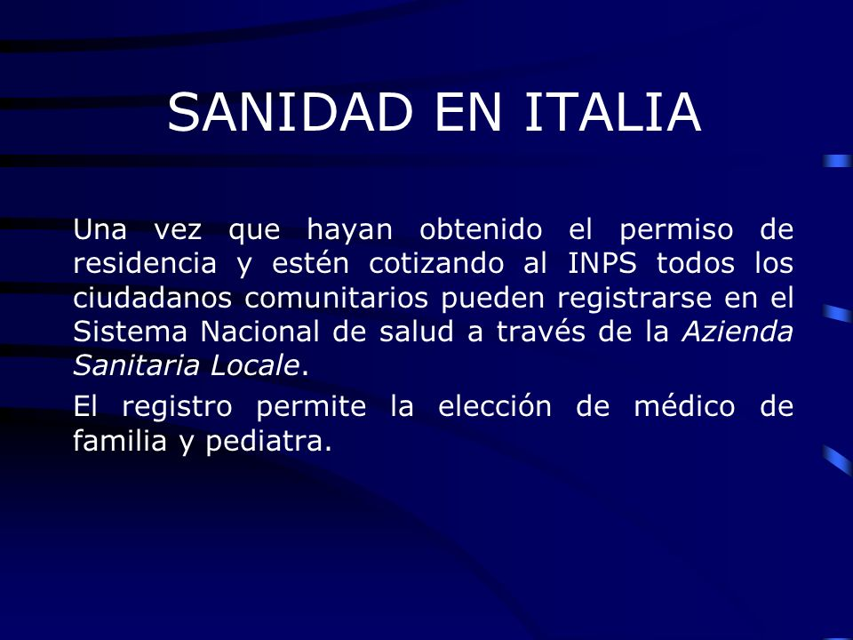 SANIDAD EN ITALIA