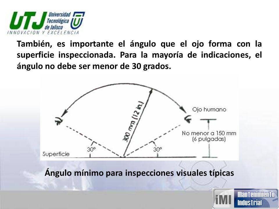 También, es importante el ángulo que el ojo forma con la superficie inspeccionada.