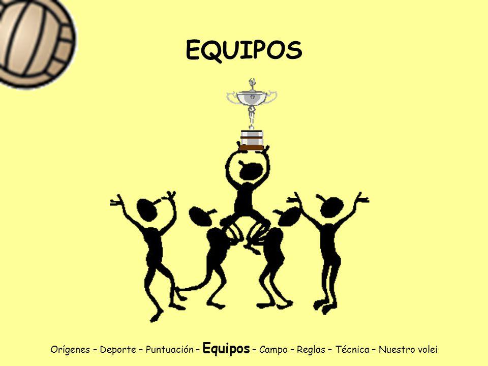EQUIPOS Orígenes – Deporte – Puntuación – Equipos – Campo – Reglas – Técnica – Nuestro volei
