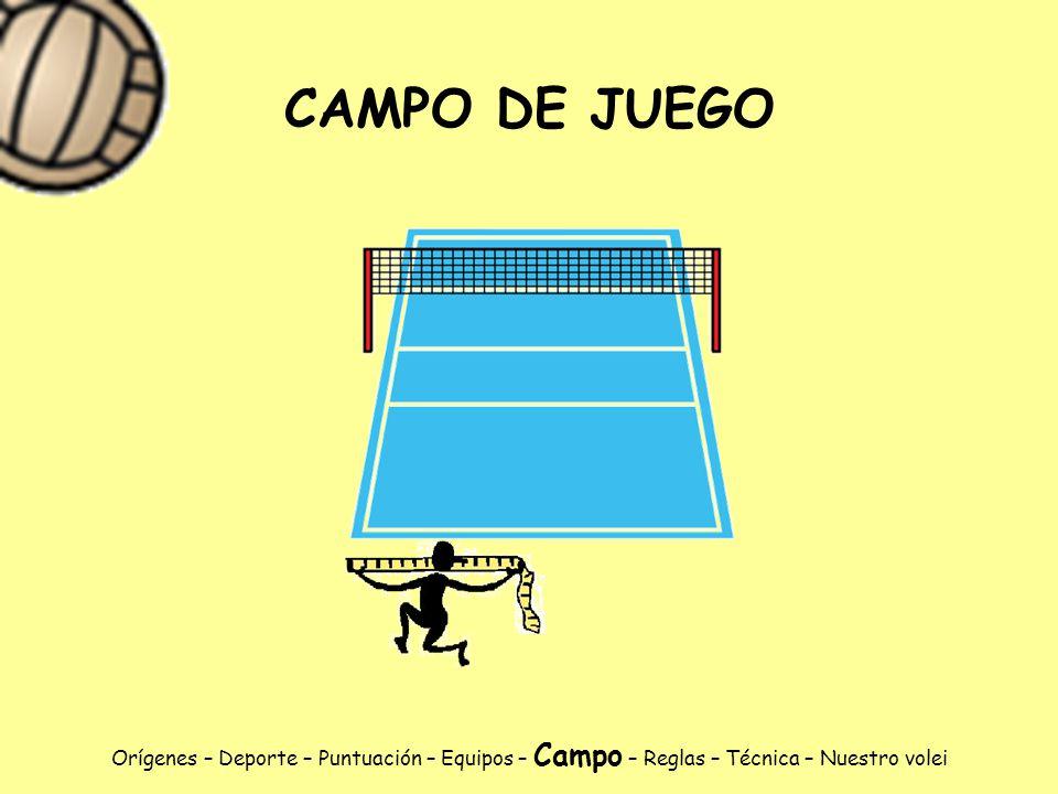 CAMPO DE JUEGO Orígenes – Deporte – Puntuación – Equipos – Campo – Reglas – Técnica – Nuestro volei