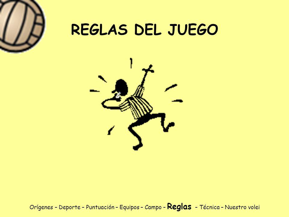 REGLAS DEL JUEGO Orígenes – Deporte – Puntuación – Equipos – Campo – Reglas – Técnica – Nuestro volei.
