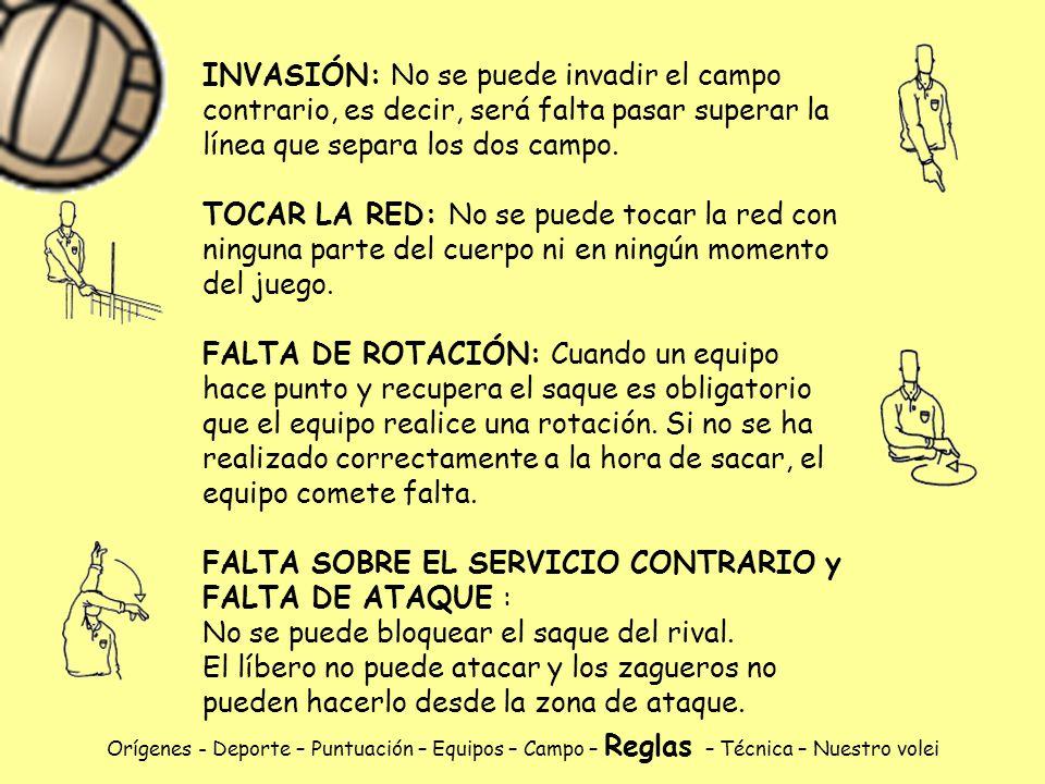 FALTA SOBRE EL SERVICIO CONTRARIO y FALTA DE ATAQUE :