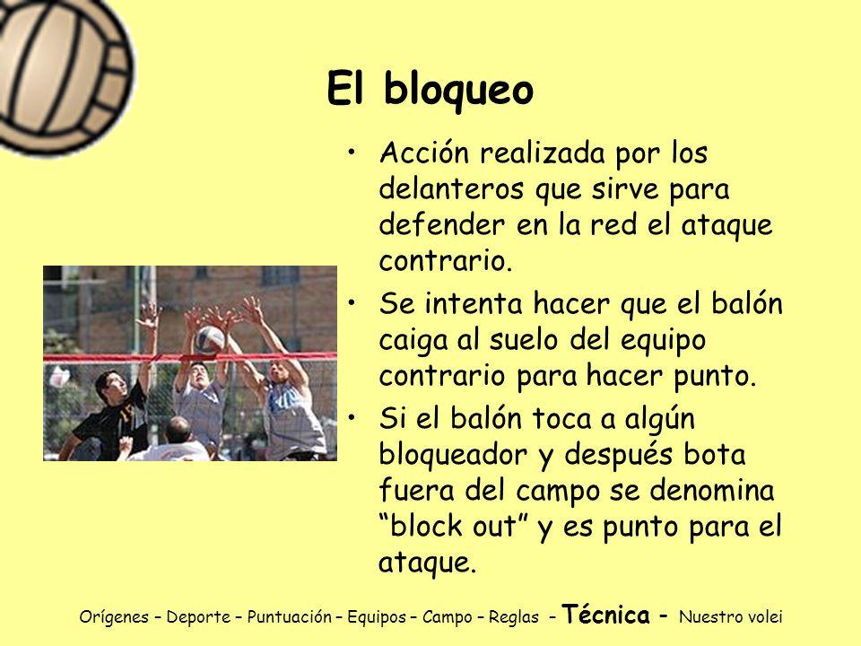 El bloqueo Acción realizada por los delanteros que sirve para defender en la red el ataque contrario.
