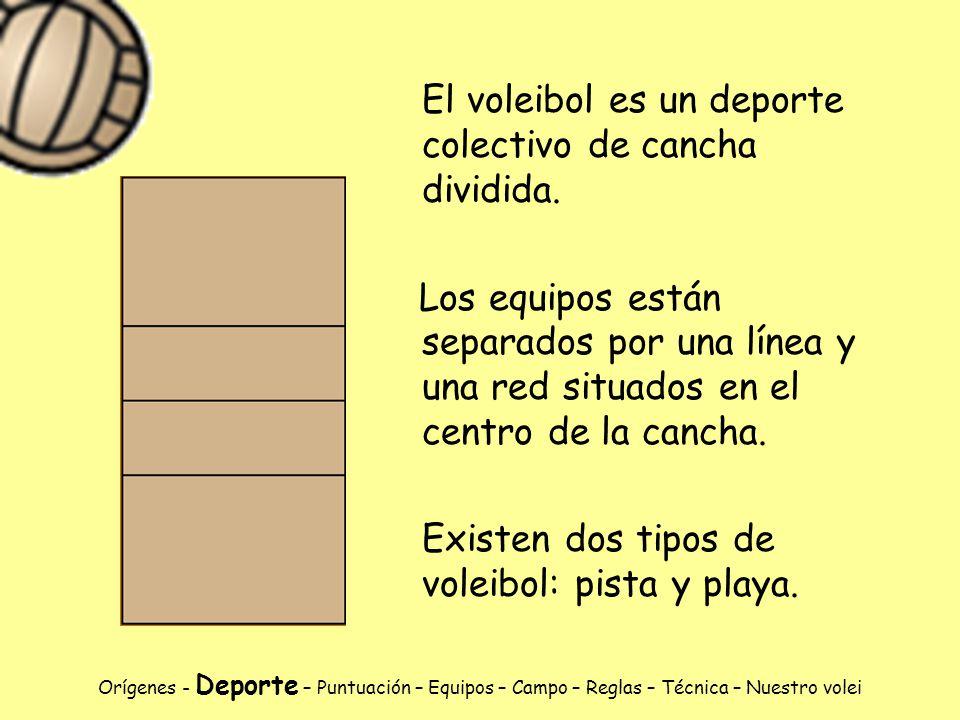 El voleibol es un deporte colectivo de cancha dividida.