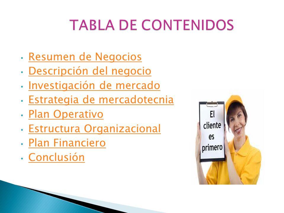 TABLA DE CONTENIDOS Resumen de Negocios Descripción del negocio