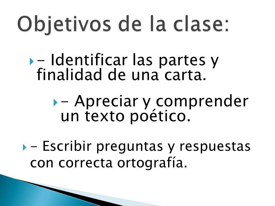 Objetivos de la clase: - Identificar las partes y finalidad de una carta. - Apreciar y comprender un texto poético.