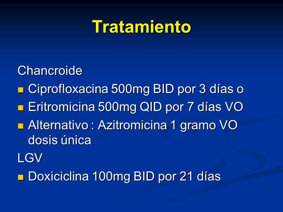 Tratamiento Chancroide Ciprofloxacina 500mg BID por 3 días o