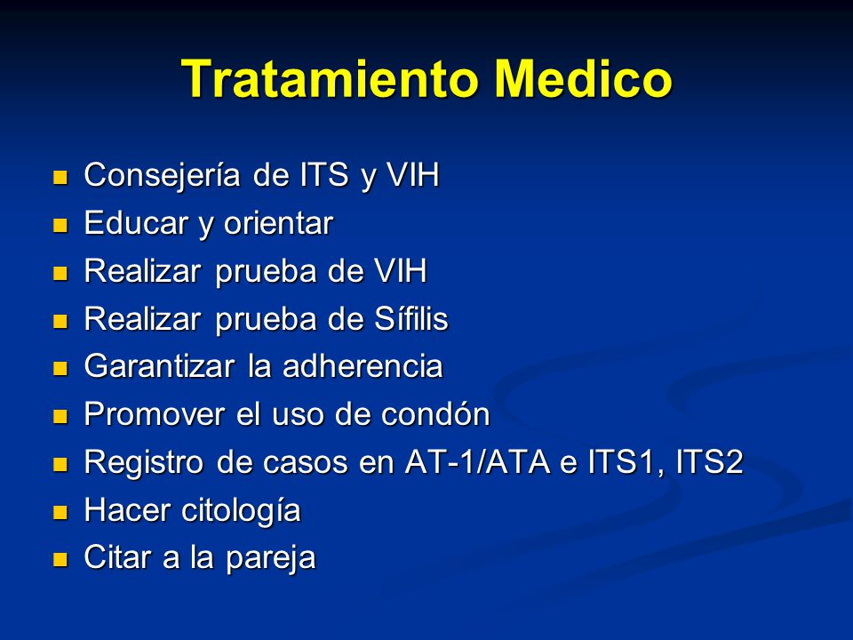 Tratamiento Medico Consejería de ITS y VIH Educar y orientar