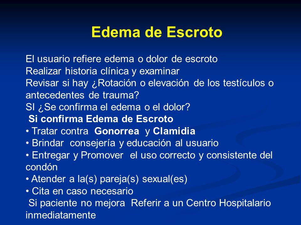Edema de Escroto El usuario refiere edema o dolor de escroto