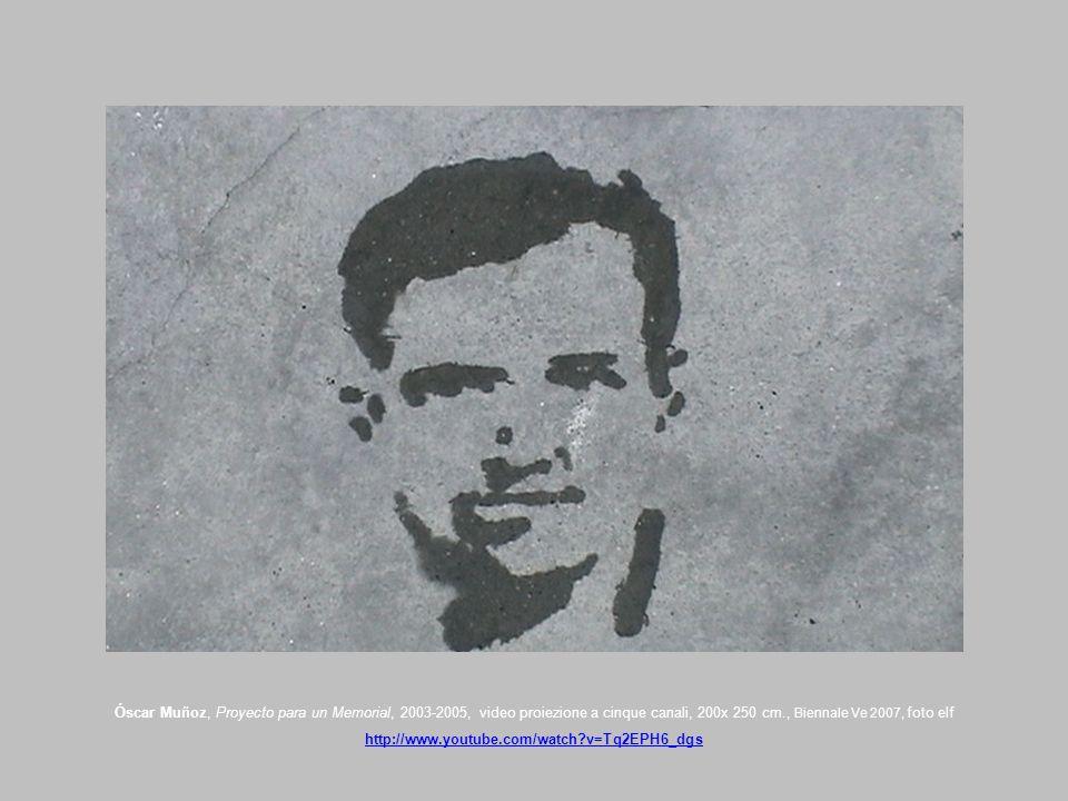Óscar Muñoz, Proyecto para un Memorial, 2003-2005, video proiezione a cinque canali, 200x 250 cm., Biennale Ve 2007, foto elf