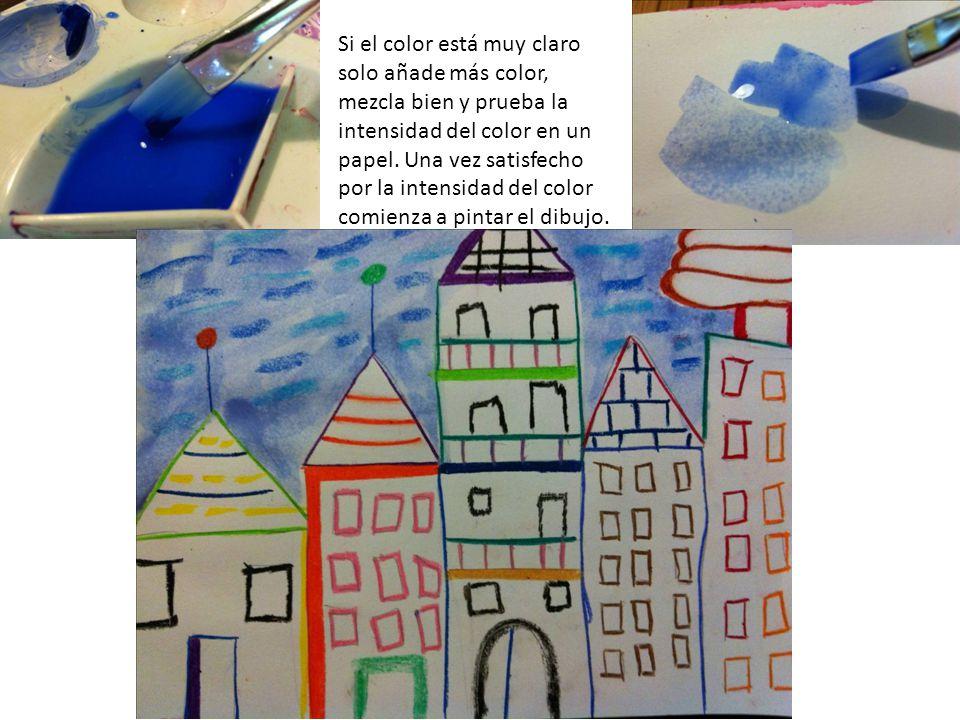 Si el color está muy claro solo añade más color, mezcla bien y prueba la intensidad del color en un papel.