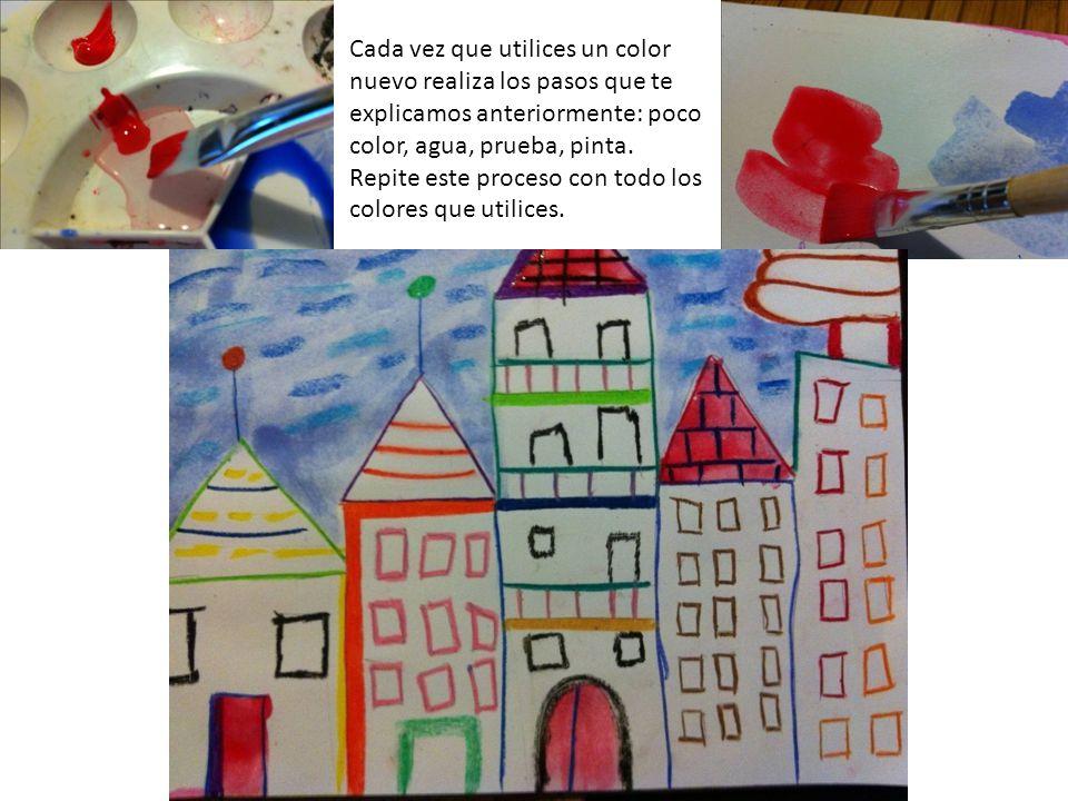 Cada vez que utilices un color nuevo realiza los pasos que te explicamos anteriormente: poco color, agua, prueba, pinta.