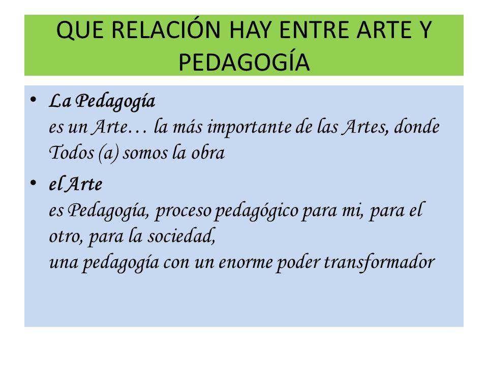QUE RELACIÓN HAY ENTRE ARTE Y PEDAGOGÍA