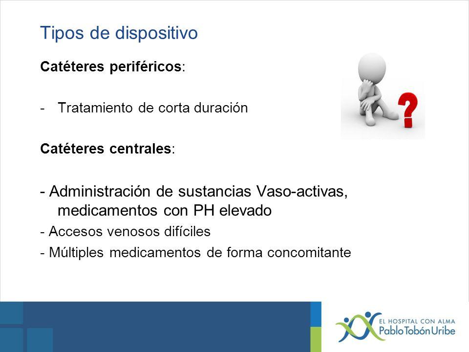Tipos de dispositivo Catéteres periféricos: Tratamiento de corta duración. Catéteres centrales: