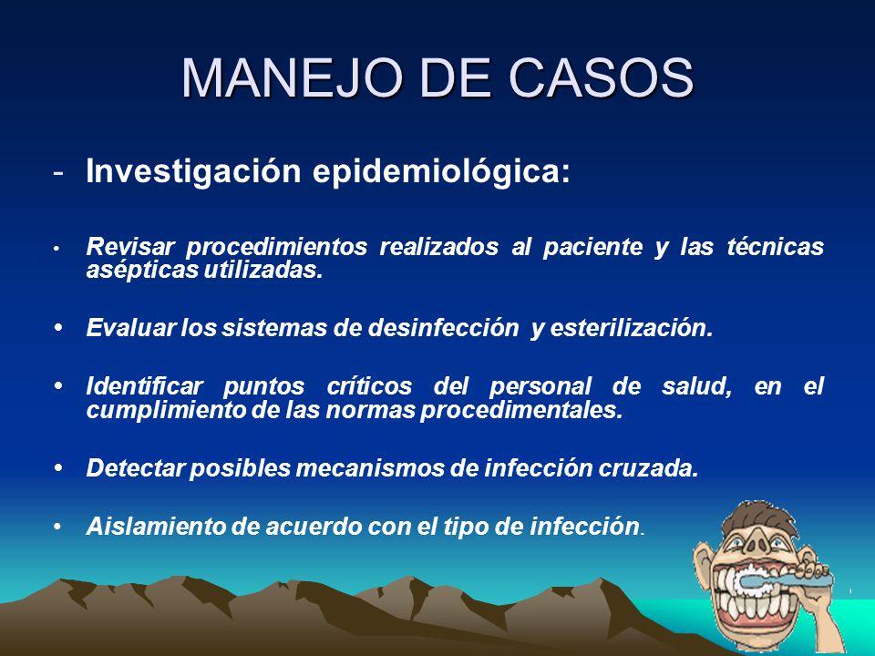 MANEJO DE CASOS Investigación epidemiológica: