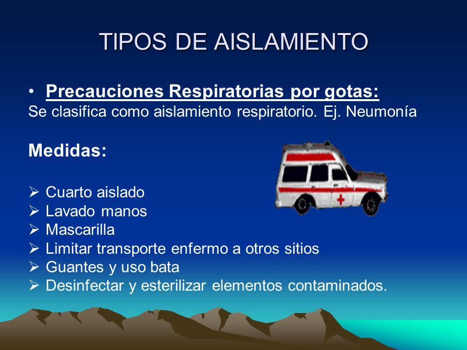 TIPOS DE AISLAMIENTO Precauciones Respiratorias por gotas: Medidas: