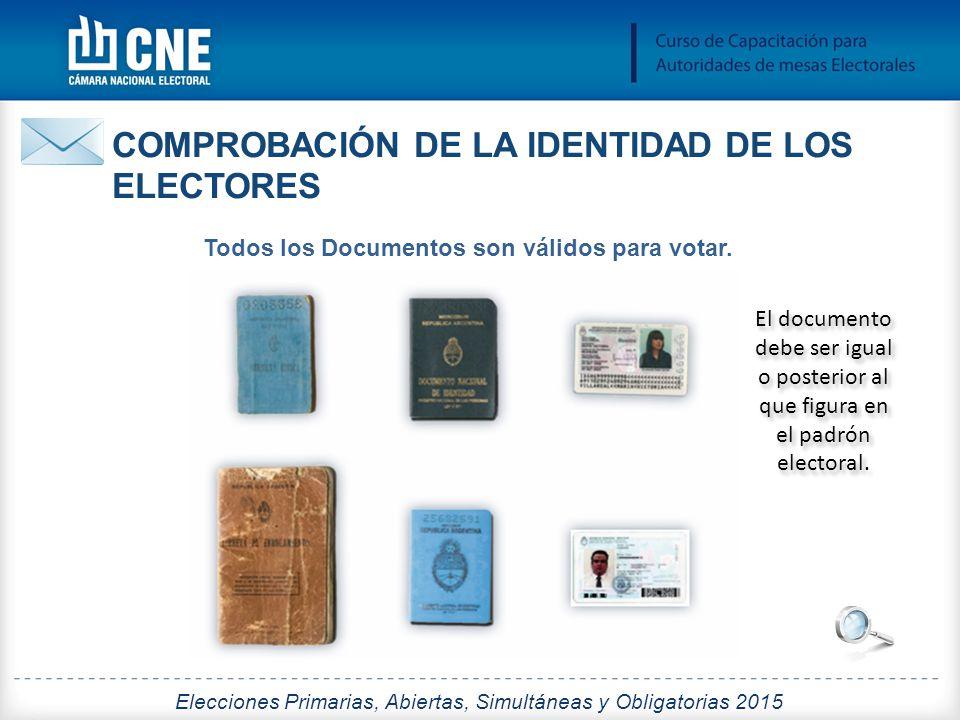 Todos los Documentos son válidos para votar.