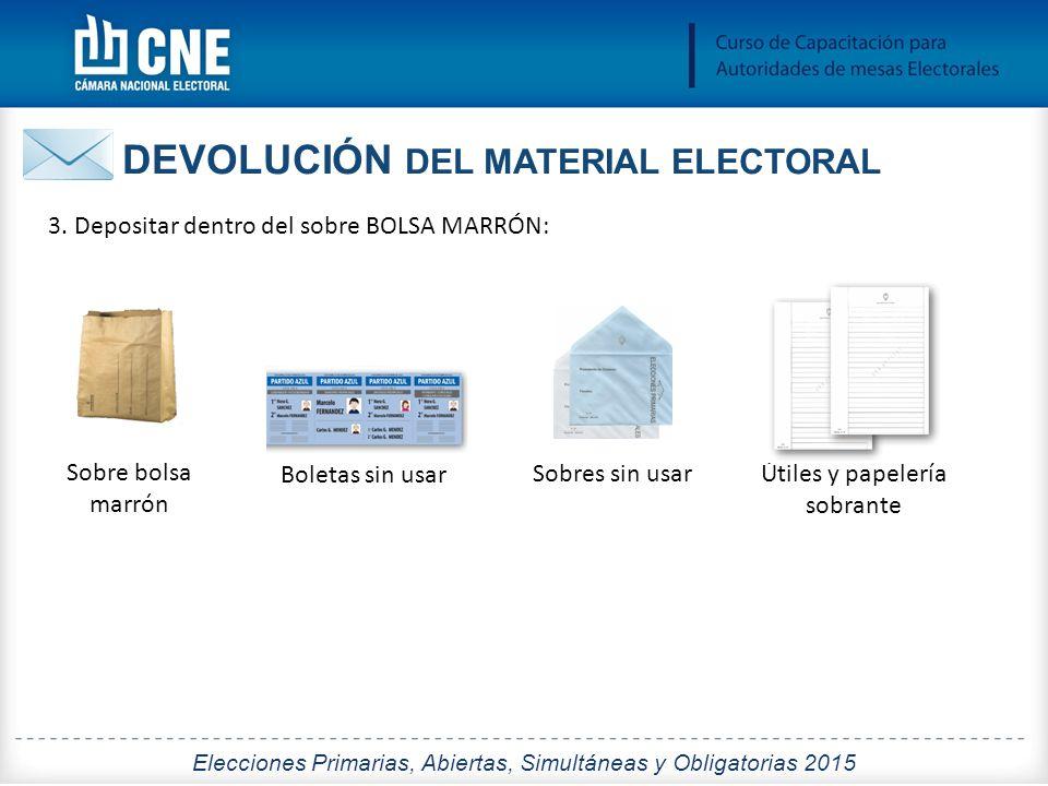 DEVOLUCIÓN DEL MATERIAL ELECTORAL