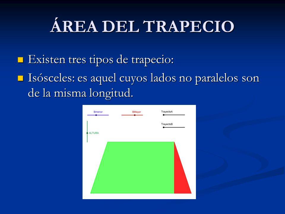 ÁREA DEL TRAPECIO Existen tres tipos de trapecio: